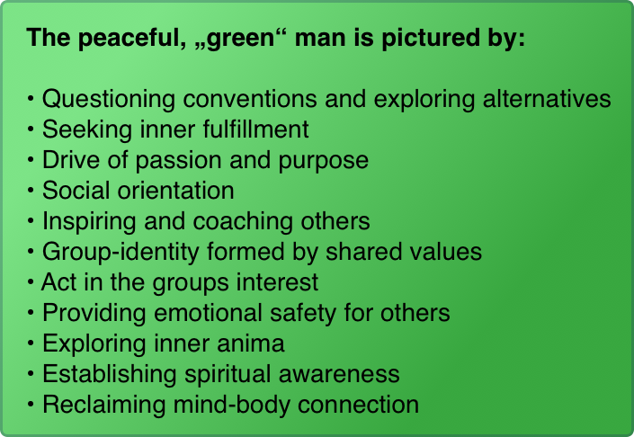"The peaceful, ""green"" man is pictured by:  Questioning conventions and exploring alternatives Seeking inner fulfillment Drive of passion and purpose Social orientation Inspiring and coaching others Group-identity formed by shared values Act in the groups interest Providing emotional safety for others Exploring inner anima Establishing spiritual awareness Reclaiming mind-body connection"