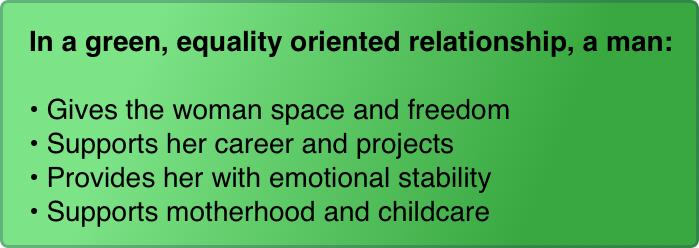 In a green, equality oriented relationship, a man:  Gives the woman space and freedom Supports her career and projects Provides her with emotional stability Supports motherhood and childcare