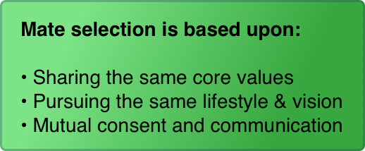 Mate selection is based upon:  Sharing the same core values Pursuing the same lifestyle & vision Mutual consent and communication